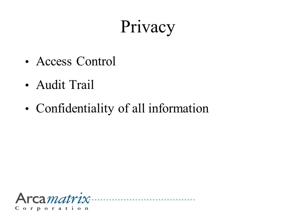 Privacy Access Control Audit Trail Confidentiality of all information