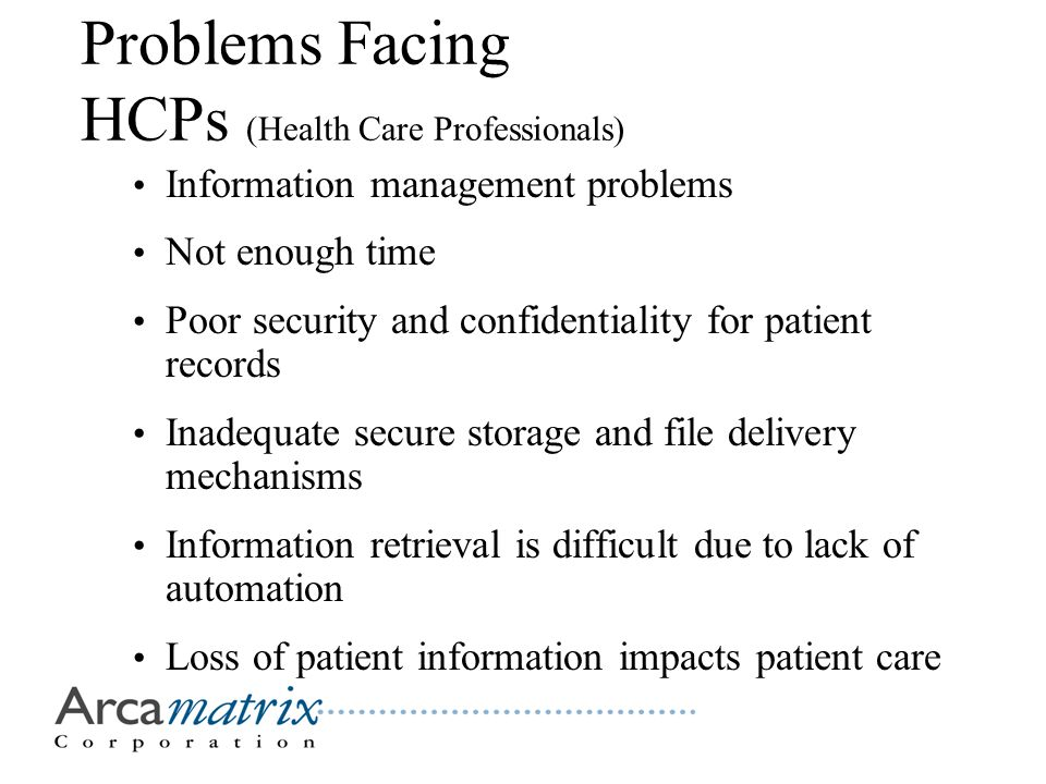 Problems Facing HCPs (Health Care Professionals) Information management problems Not enough time Poor security and confidentiality for patient records Inadequate secure storage and file delivery mechanisms Information retrieval is difficult due to lack of automation Loss of patient information impacts patient care