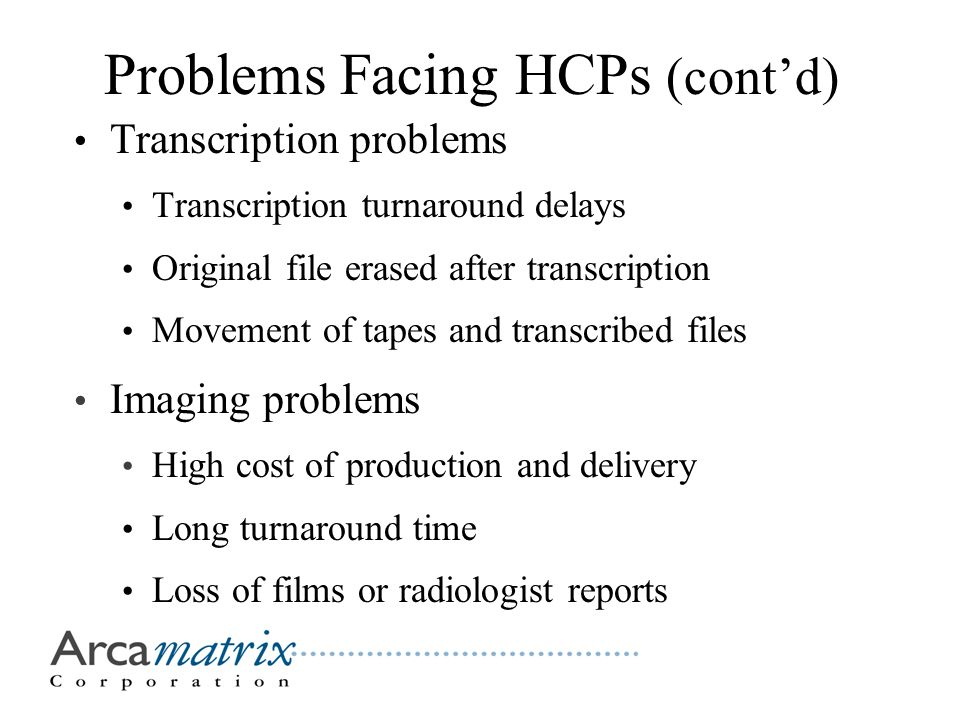 Problems Facing HCPs (cont'd) Transcription problems Transcription turnaround delays Original file erased after transcription Movement of tapes and transcribed files Imaging problems High cost of production and delivery Long turnaround time Loss of films or radiologist reports