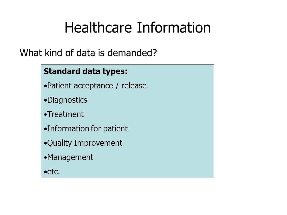 Healthcare Information What kind of data is demanded.