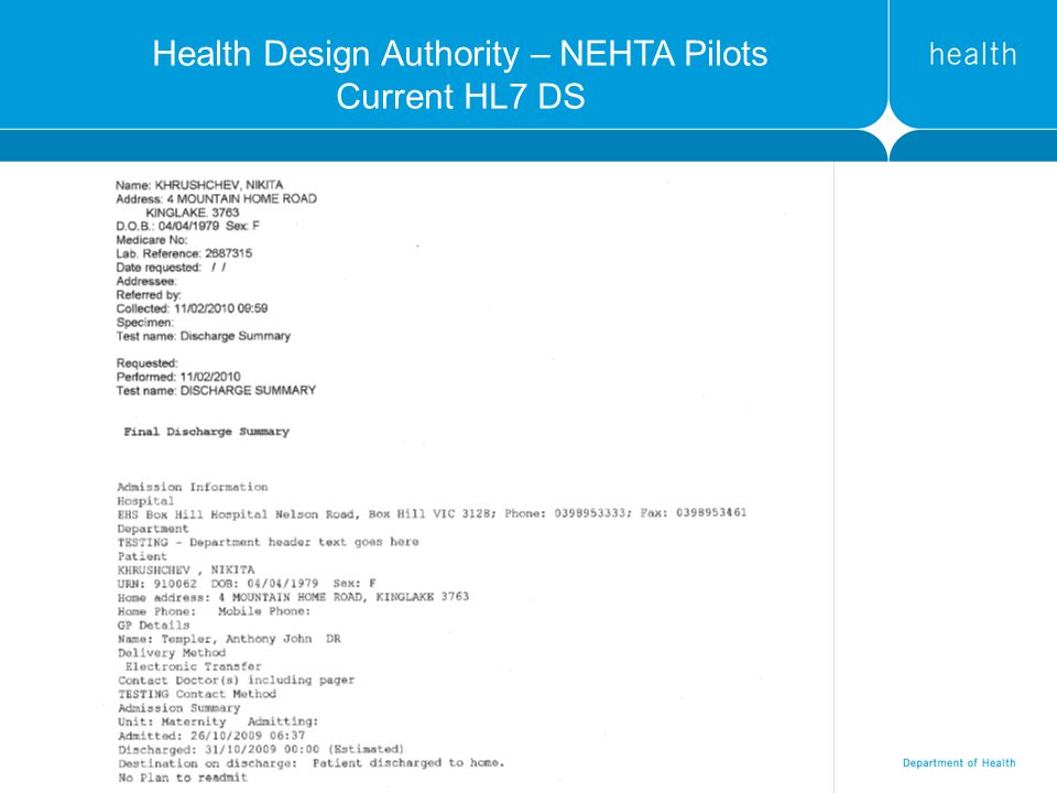 Health Design Authority – NEHTA Pilots Current HL7 DS