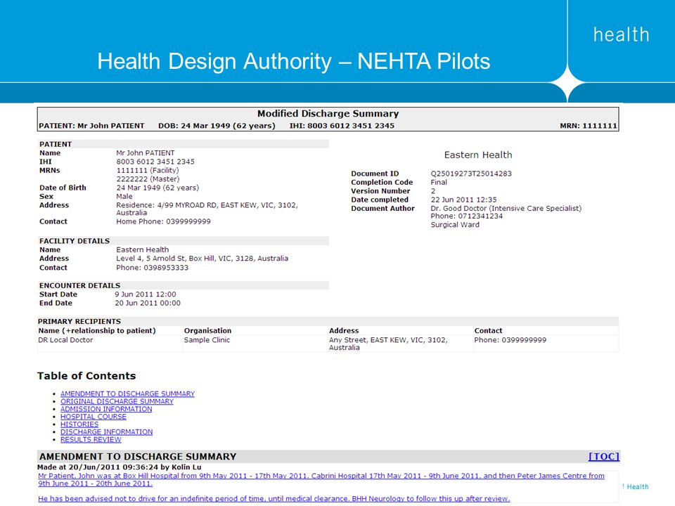 Health Design Authority – NEHTA Pilots