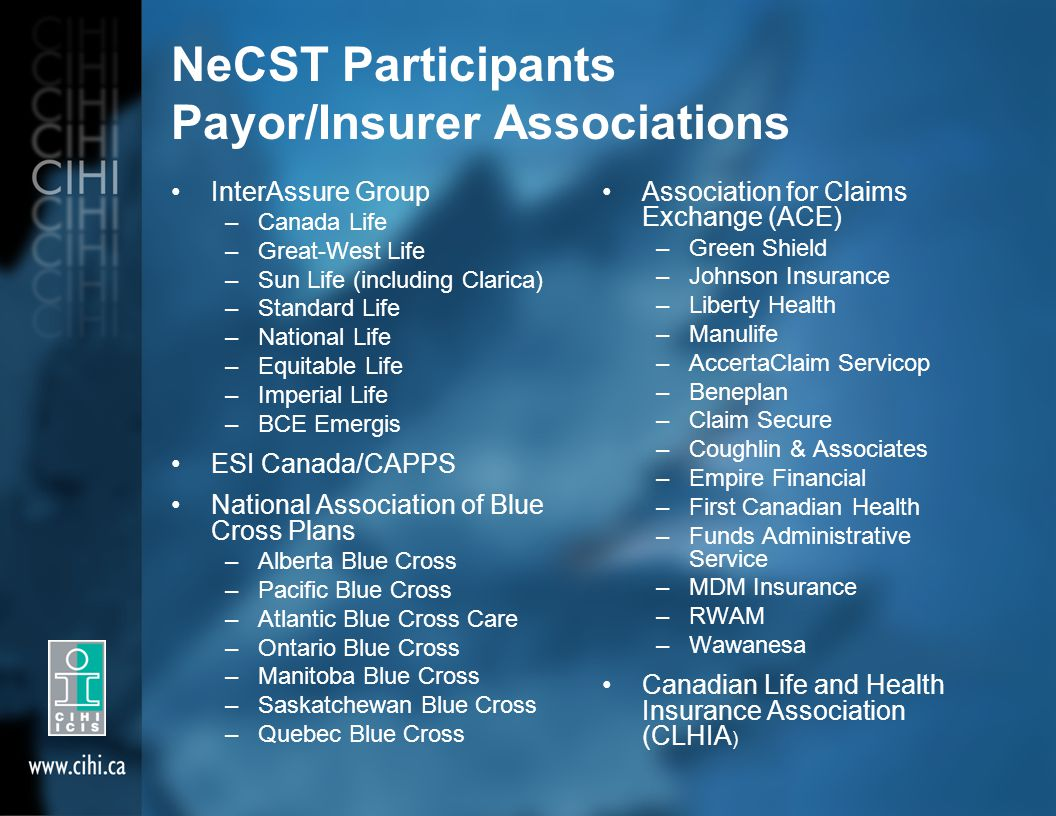 NeCST Participants Payor/Insurer Associations InterAssure Group –Canada Life –Great-West Life –Sun Life (including Clarica) –Standard Life –National Life –Equitable Life –Imperial Life –BCE Emergis ESI Canada/CAPPS National Association of Blue Cross Plans –Alberta Blue Cross –Pacific Blue Cross –Atlantic Blue Cross Care –Ontario Blue Cross –Manitoba Blue Cross –Saskatchewan Blue Cross –Quebec Blue Cross Association for Claims Exchange (ACE) –Green Shield –Johnson Insurance –Liberty Health –Manulife –AccertaClaim Servicop –Beneplan –Claim Secure –Coughlin & Associates –Empire Financial –First Canadian Health –Funds Administrative Service –MDM Insurance –RWAM –Wawanesa Canadian Life and Health Insurance Association (CLHIA )