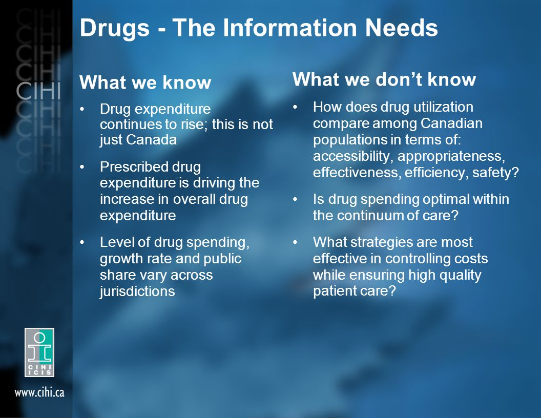 Drugs - The Information Needs What we know Drug expenditure continues to rise; this is not just Canada Prescribed drug expenditure is driving the increase in overall drug expenditure Level of drug spending, growth rate and public share vary across jurisdictions What we don't know How does drug utilization compare among Canadian populations in terms of: accessibility, appropriateness, effectiveness, efficiency, safety.