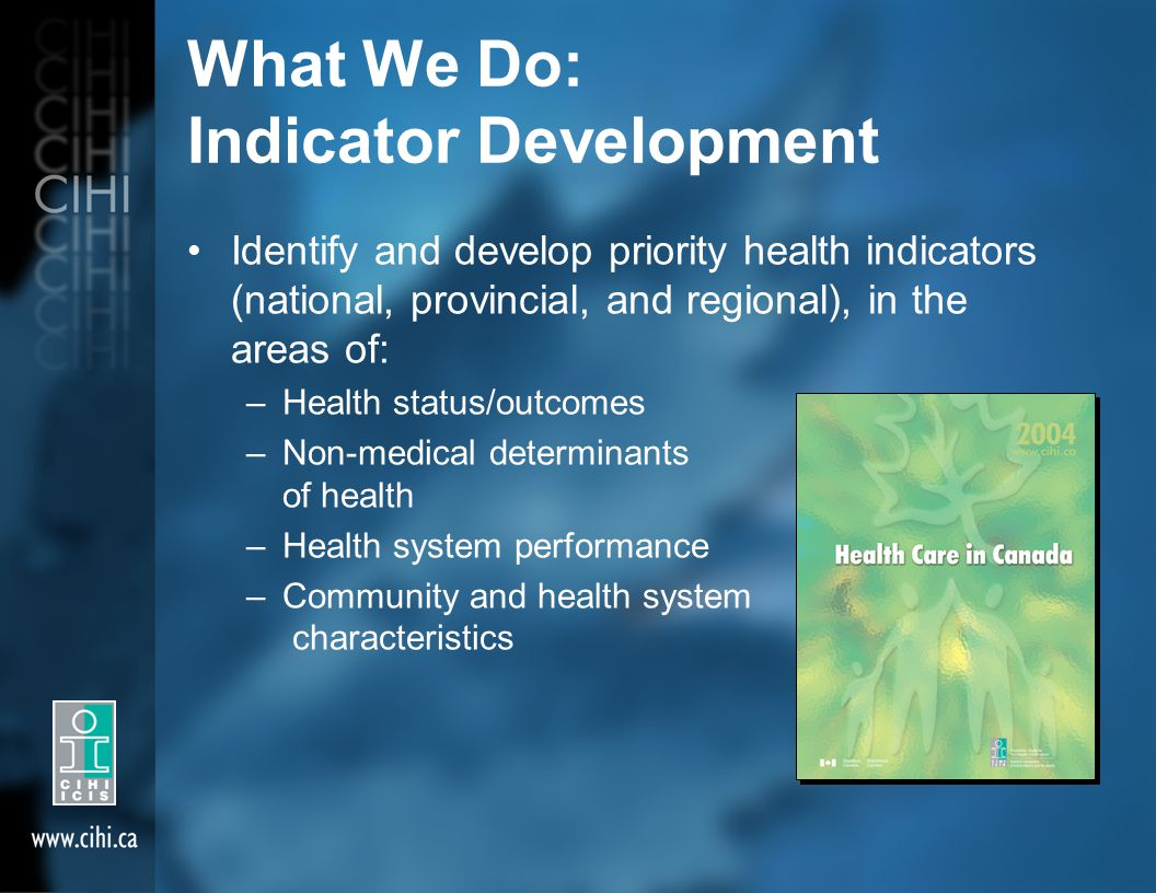 What We Do: Indicator Development Identify and develop priority health indicators (national, provincial, and regional), in the areas of: –Health status/outcomes –Non-medical determinants of health –Health system performance –Community and health system characteristics