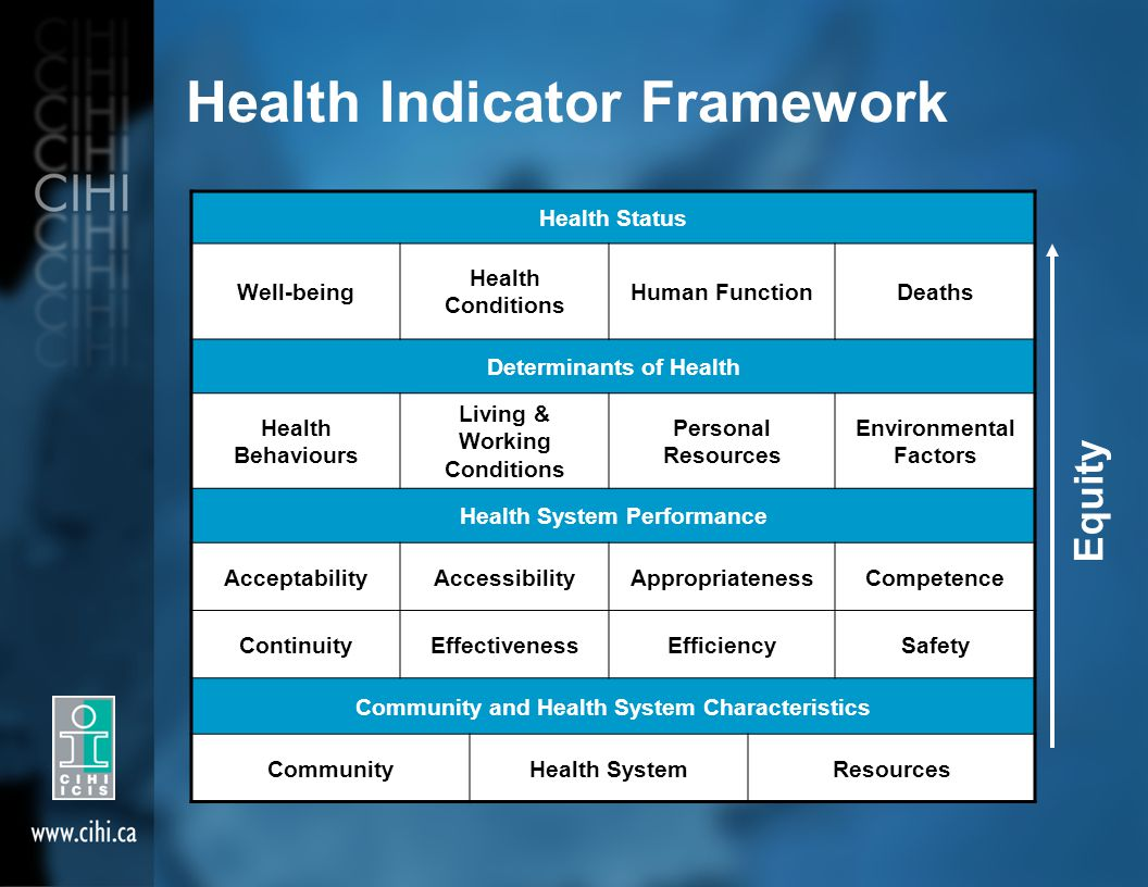 Equity Health Indicator Framework Health Status Well-being Health Conditions Human FunctionDeaths Determinants of Health Health Behaviours Living & Working Conditions Personal Resources Environmental Factors Health System Performance AcceptabilityAccessibilityAppropriatenessCompetence ContinuityEffectivenessEfficiencySafety Community and Health System Characteristics CommunityHealth SystemResources