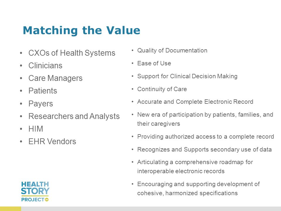 Matching the Value CXOs of Health Systems Clinicians Care Managers Patients Payers Researchers and Analysts HIM EHR Vendors Quality of Documentation Ease of Use Support for Clinical Decision Making Continuity of Care Accurate and Complete Electronic Record New era of participation by patients, families, and their caregivers Providing authorized access to a complete record Recognizes and Supports secondary use of data Articulating a comprehensive roadmap for interoperable electronic records Encouraging and supporting development of cohesive, harmonized specifications