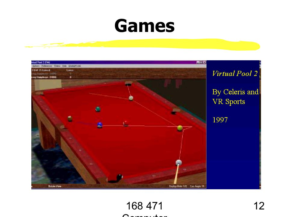 168 471 Computer Graphics, KKU. Lecture 1 12 Games