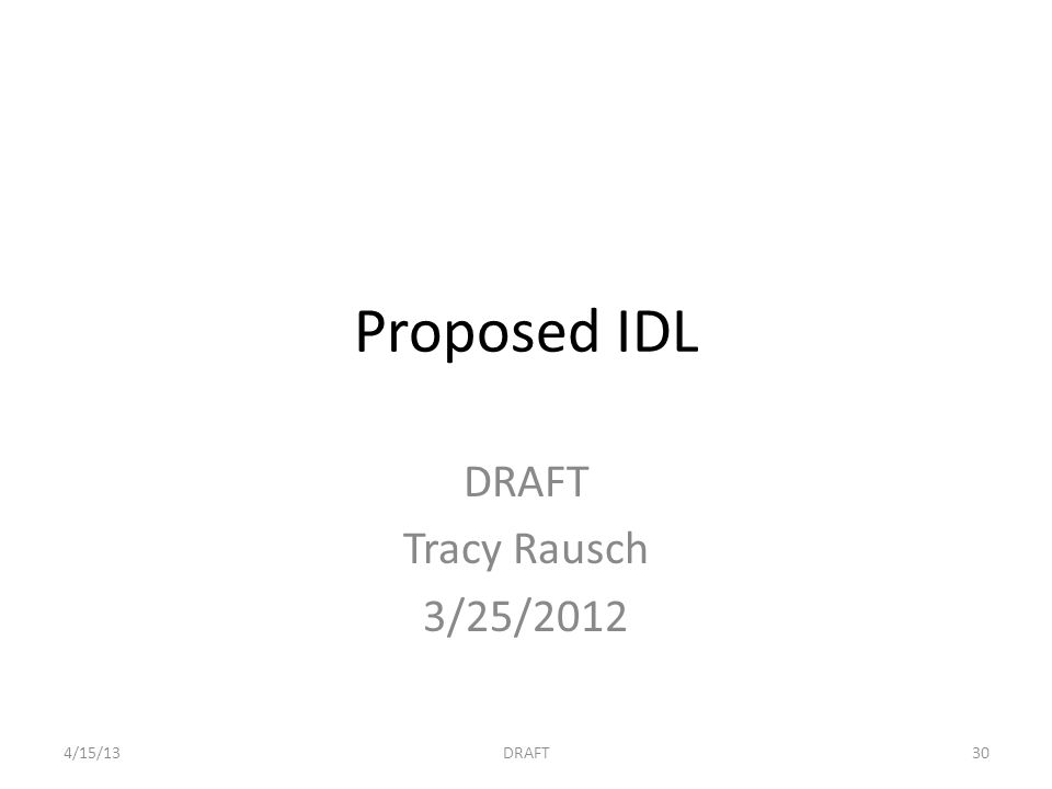 Proposed IDL DRAFT Tracy Rausch 3/25/2012 4/15/13DRAFT30