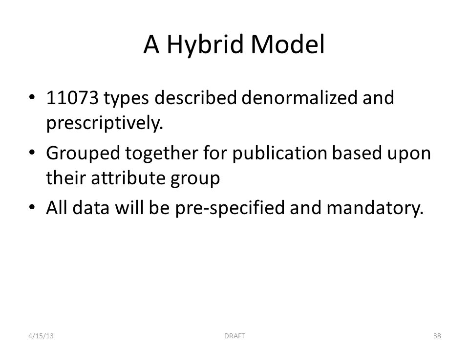 A Hybrid Model 11073 types described denormalized and prescriptively.