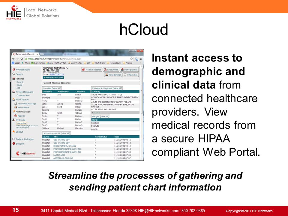 15 3411 Capital Medical Blvd., Tallahassee Florida 32308 HIE@HIEnetworks.com 850-702-0365 Copyright © 2011 HIE Networks hCloud Instant access to demographic and clinical data from connected healthcare providers.