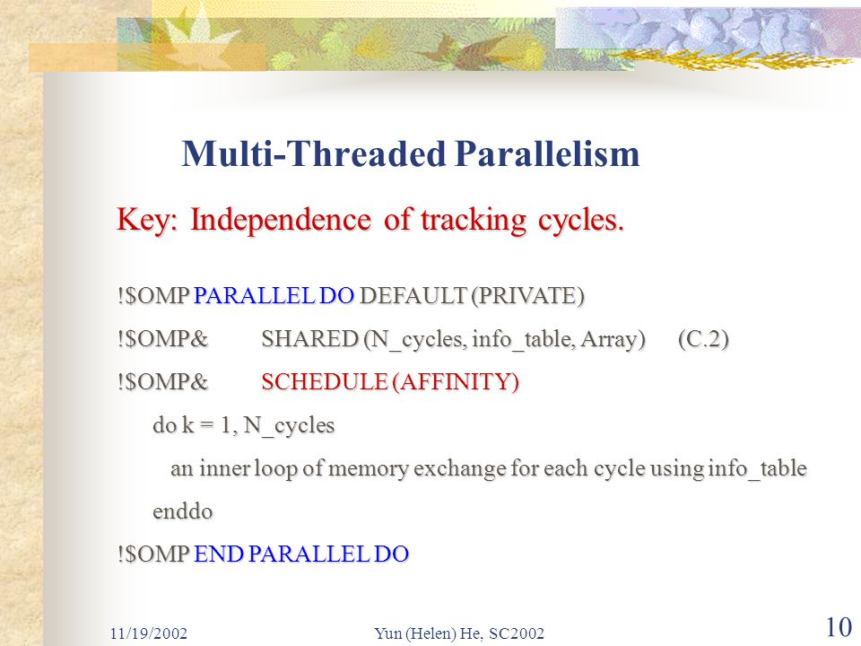 11/19/2002Yun (Helen) He, SC2002 10 Multi-Threaded Parallelism Key: Independence of tracking cycles.