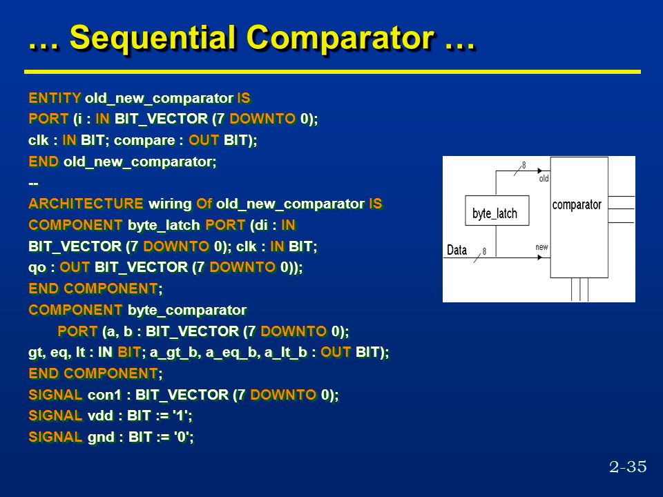 2-35 … Sequential Comparator … ENTITY old_new_comparator IS PORT (i : IN BIT_VECTOR (7 DOWNTO 0); clk : IN BIT; compare : OUT BIT); END old_new_comparator; -- ARCHITECTURE wiring Of old_new_comparator IS COMPONENT byte_latch PORT (di : IN BIT_VECTOR (7 DOWNTO 0); clk : IN BIT; qo : OUT BIT_VECTOR (7 DOWNTO 0)); END COMPONENT; COMPONENT byte_comparator PORT (a, b : BIT_VECTOR (7 DOWNTO 0); gt, eq, lt : IN BIT; a_gt_b, a_eq_b, a_lt_b : OUT BIT); END COMPONENT; SIGNAL con1 : BIT_VECTOR (7 DOWNTO 0); SIGNAL vdd : BIT := 1 ; SIGNAL gnd : BIT := 0 ; ENTITY old_new_comparator IS PORT (i : IN BIT_VECTOR (7 DOWNTO 0); clk : IN BIT; compare : OUT BIT); END old_new_comparator; -- ARCHITECTURE wiring Of old_new_comparator IS COMPONENT byte_latch PORT (di : IN BIT_VECTOR (7 DOWNTO 0); clk : IN BIT; qo : OUT BIT_VECTOR (7 DOWNTO 0)); END COMPONENT; COMPONENT byte_comparator PORT (a, b : BIT_VECTOR (7 DOWNTO 0); gt, eq, lt : IN BIT; a_gt_b, a_eq_b, a_lt_b : OUT BIT); END COMPONENT; SIGNAL con1 : BIT_VECTOR (7 DOWNTO 0); SIGNAL vdd : BIT := 1 ; SIGNAL gnd : BIT := 0 ;