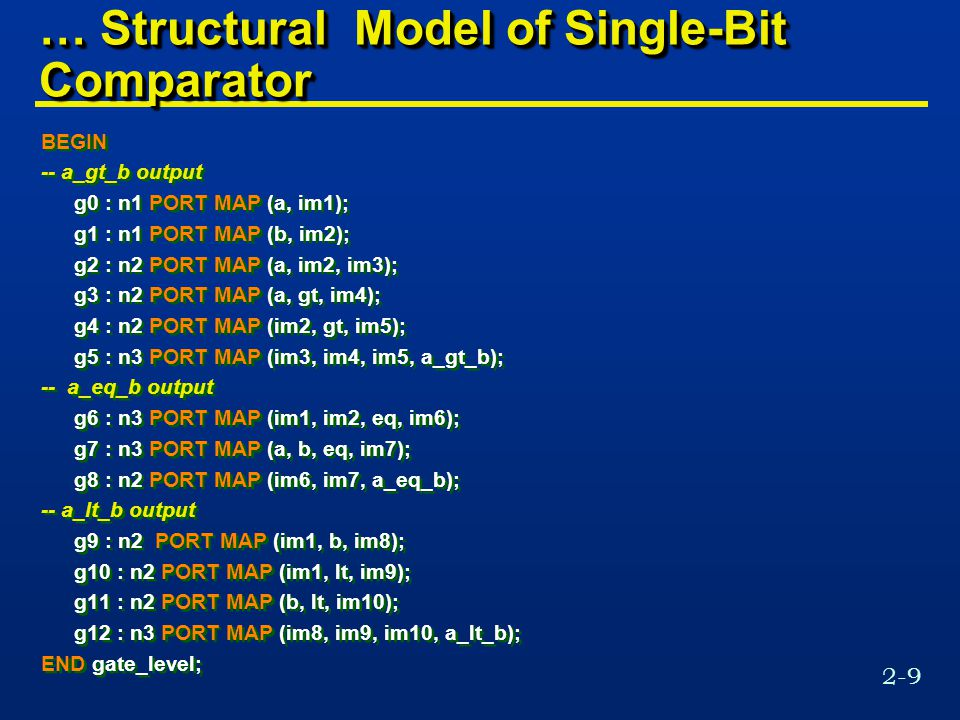 2-9 … Structural Model of Single-Bit Comparator BEGIN -- a_gt_b output g0 : n1 PORT MAP (a, im1); g1 : n1 PORT MAP (b, im2); g2 : n2 PORT MAP (a, im2, im3); g3 : n2 PORT MAP (a, gt, im4); g4 : n2 PORT MAP (im2, gt, im5); g5 : n3 PORT MAP (im3, im4, im5, a_gt_b); -- a_eq_b output g6 : n3 PORT MAP (im1, im2, eq, im6); g7 : n3 PORT MAP (a, b, eq, im7); g8 : n2 PORT MAP (im6, im7, a_eq_b); -- a_lt_b output g9 : n2 PORT MAP (im1, b, im8); g10 : n2 PORT MAP (im1, lt, im9); g11 : n2 PORT MAP (b, lt, im10); g12 : n3 PORT MAP (im8, im9, im10, a_lt_b); END gate_level; BEGIN -- a_gt_b output g0 : n1 PORT MAP (a, im1); g1 : n1 PORT MAP (b, im2); g2 : n2 PORT MAP (a, im2, im3); g3 : n2 PORT MAP (a, gt, im4); g4 : n2 PORT MAP (im2, gt, im5); g5 : n3 PORT MAP (im3, im4, im5, a_gt_b); -- a_eq_b output g6 : n3 PORT MAP (im1, im2, eq, im6); g7 : n3 PORT MAP (a, b, eq, im7); g8 : n2 PORT MAP (im6, im7, a_eq_b); -- a_lt_b output g9 : n2 PORT MAP (im1, b, im8); g10 : n2 PORT MAP (im1, lt, im9); g11 : n2 PORT MAP (b, lt, im10); g12 : n3 PORT MAP (im8, im9, im10, a_lt_b); END gate_level;