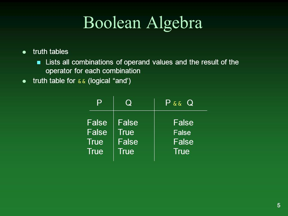 Boolean Algebra l truth tables n Lists all combinations of operand values and the result of the operator for each combination truth table for && (logical and') PQ P && Q False FalseFalse False True False True FalseFalse True TrueTrue 5