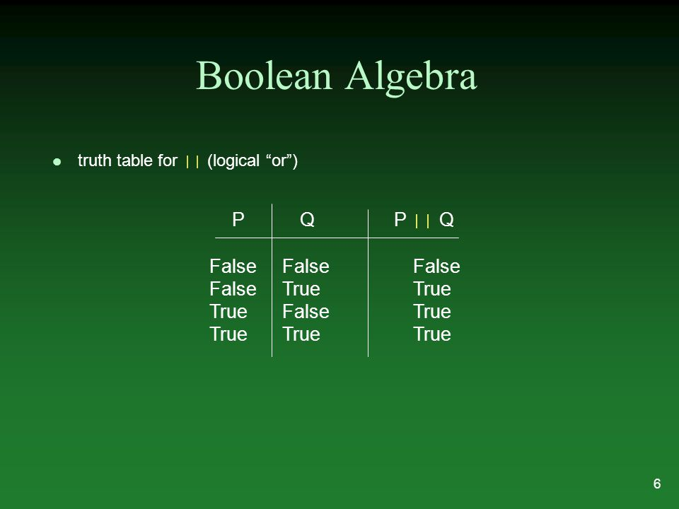 Boolean Algebra truth table for || (logical or ) PQ P || Q False FalseFalse False TrueTrue True FalseTrue True TrueTrue 6