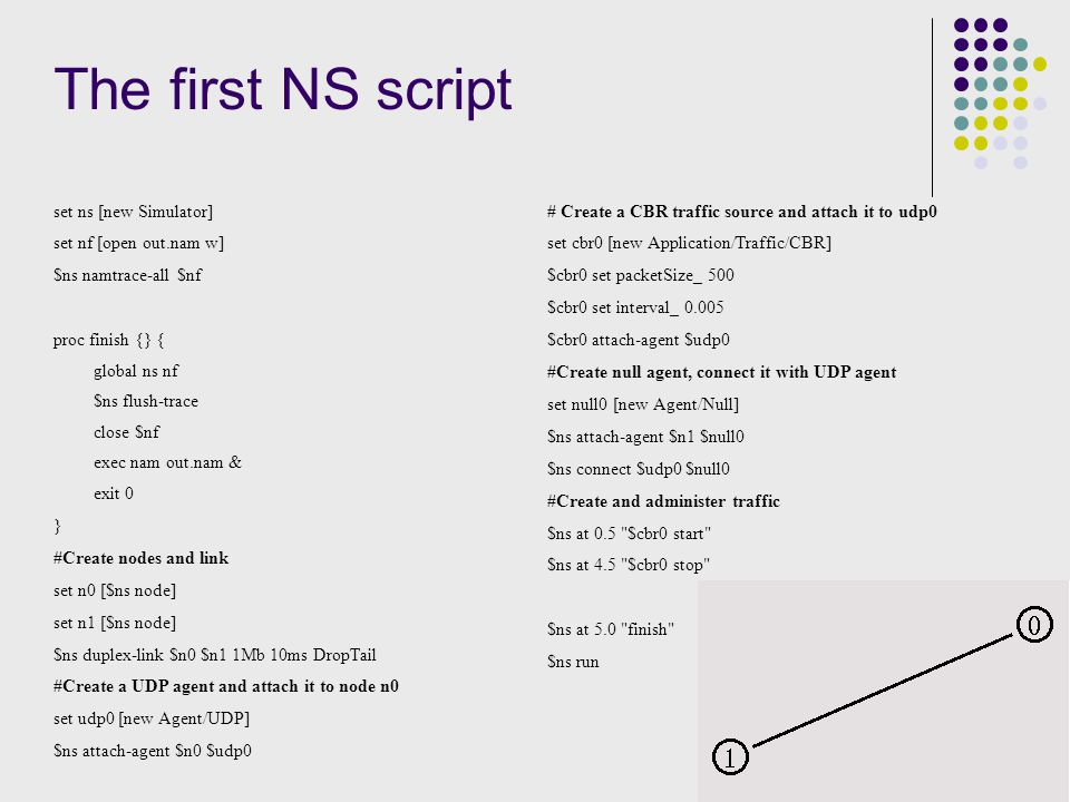 The first NS script set ns [new Simulator] set nf [open out.nam w] $ns namtrace-all $nf proc finish {} { global ns nf $ns flush-trace close $nf exec nam out.nam & exit 0 } #Create nodes and link set n0 [$ns node] set n1 [$ns node] $ns duplex-link $n0 $n1 1Mb 10ms DropTail #Create a UDP agent and attach it to node n0 set udp0 [new Agent/UDP] $ns attach-agent $n0 $udp0 # Create a CBR traffic source and attach it to udp0 set cbr0 [new Application/Traffic/CBR] $cbr0 set packetSize_ 500 $cbr0 set interval_ 0.005 $cbr0 attach-agent $udp0 #Create null agent, connect it with UDP agent set null0 [new Agent/Null] $ns attach-agent $n1 $null0 $ns connect $udp0 $null0 #Create and administer traffic $ns at 0.5 $cbr0 start $ns at 4.5 $cbr0 stop $ns at 5.0 finish $ns run