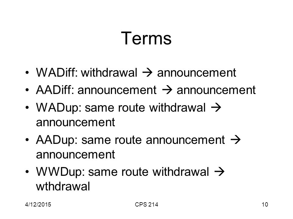 Terms WADiff: withdrawal  announcement AADiff: announcement  announcement WADup: same route withdrawal  announcement AADup: same route announcement  announcement WWDup: same route withdrawal  wthdrawal 4/12/2015CPS 21410