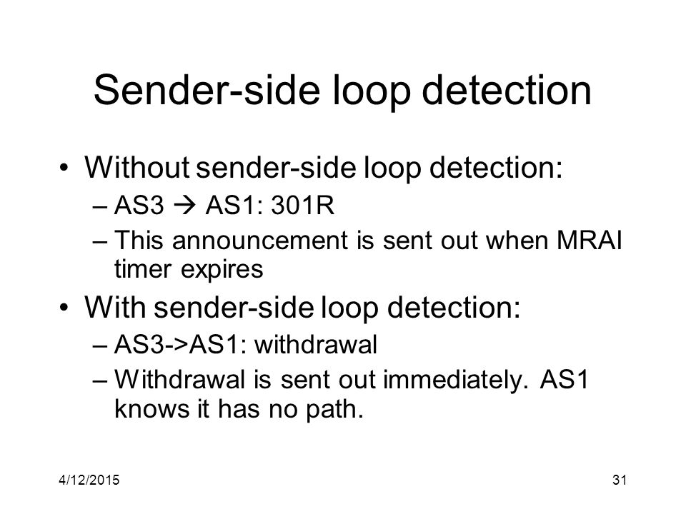4/12/201531 Sender-side loop detection Without sender-side loop detection: –AS3  AS1: 301R –This announcement is sent out when MRAI timer expires With sender-side loop detection: –AS3->AS1: withdrawal –Withdrawal is sent out immediately.