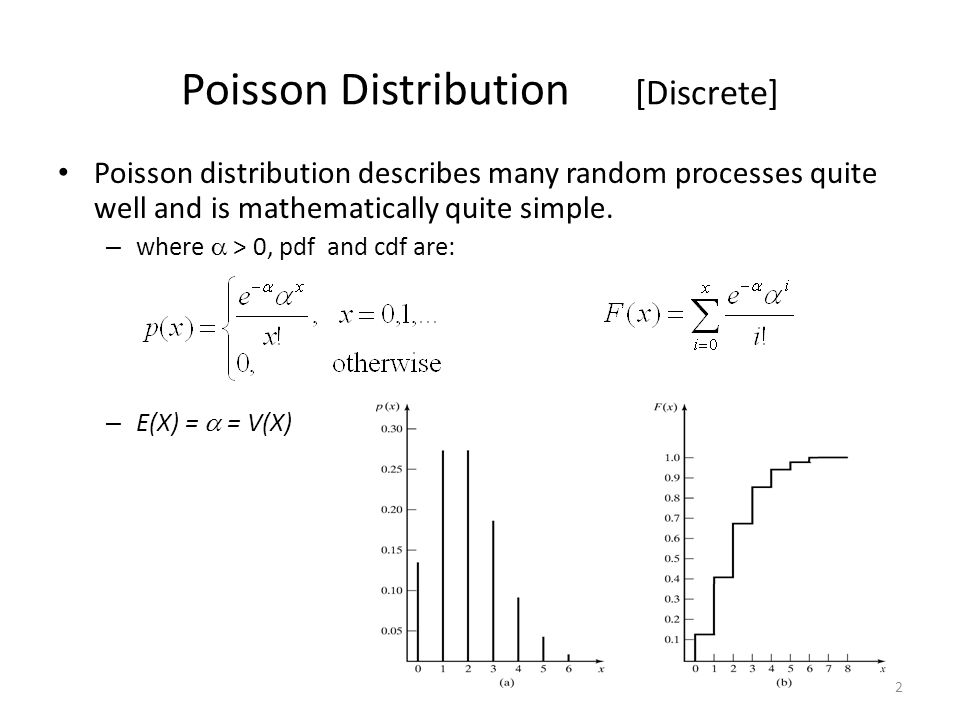 2 Poisson Distribution [Discrete] Poisson distribution describes many random processes quite well and is mathematically quite simple.
