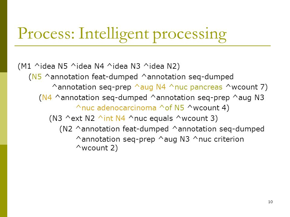 10 Process: Intelligent processing (M1 ^idea N5 ^idea N4 ^idea N3 ^idea N2) (N5 ^annotation feat-dumped ^annotation seq-dumped ^annotation seq-prep ^aug N4 ^nuc pancreas ^wcount 7) (N4 ^annotation seq-dumped ^annotation seq-prep ^aug N3 ^nuc adenocarcinoma ^of N5 ^wcount 4) (N3 ^ext N2 ^int N4 ^nuc equals ^wcount 3) (N2 ^annotation feat-dumped ^annotation seq-dumped ^annotation seq-prep ^aug N3 ^nuc criterion ^wcount 2)