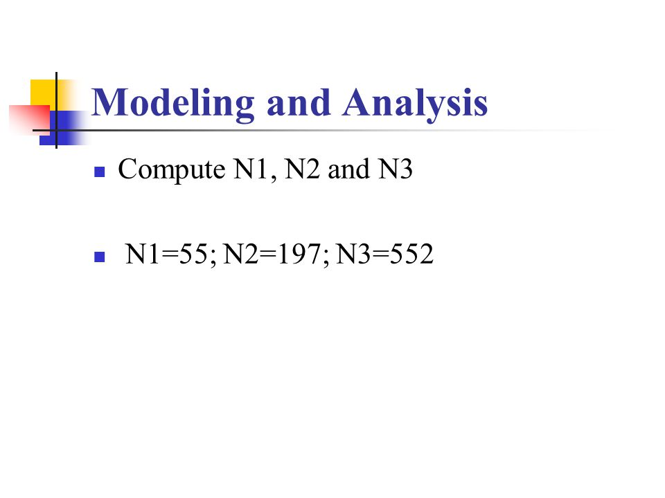 Modeling and Analysis Compute N1, N2 and N3 N1=55; N2=197; N3=552