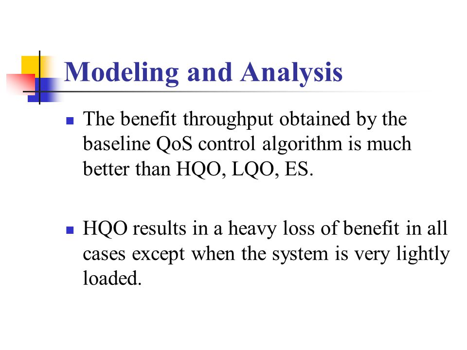 Modeling and Analysis The benefit throughput obtained by the baseline QoS control algorithm is much better than HQO, LQO, ES.