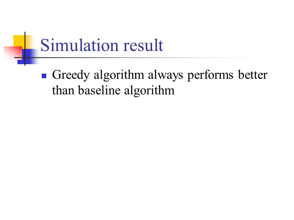 Greedy algorithm always performs better than baseline algorithm