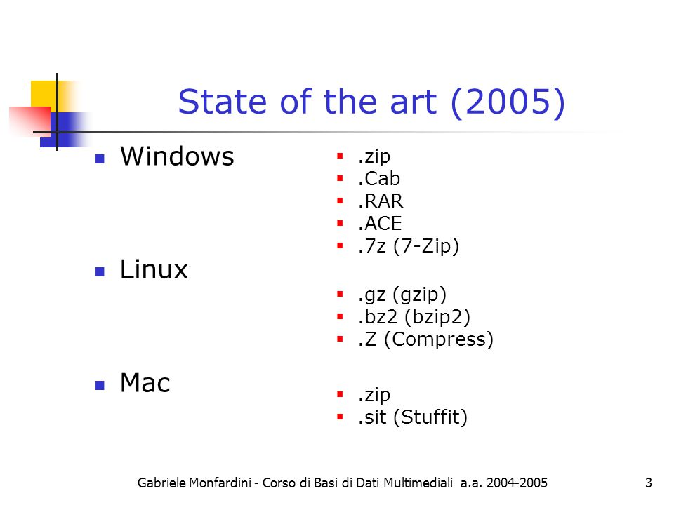 Lossless compression: state of the art  Gabriele Monfardini