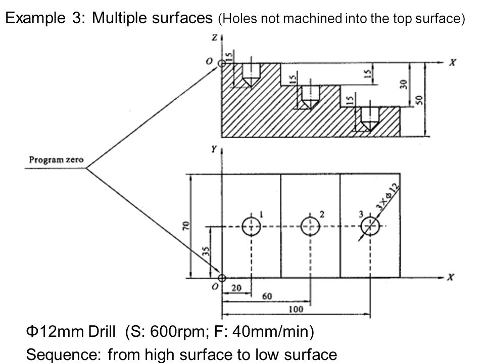Example 3: Multiple surfaces (Holes not machined into the top surface) Φ12mm Drill (S: 600rpm; F: 40mm/min) Sequence: from high surface to low surface