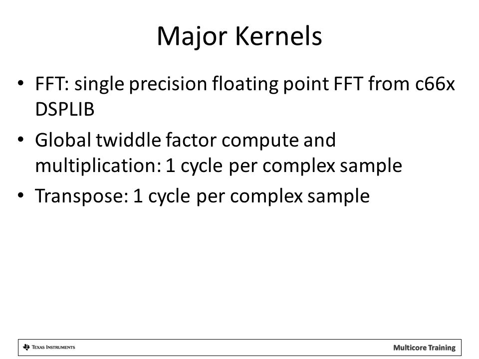 Major Kernels FFT: single precision floating point FFT from c66x DSPLIB Global twiddle factor compute and multiplication: 1 cycle per complex sample Transpose: 1 cycle per complex sample