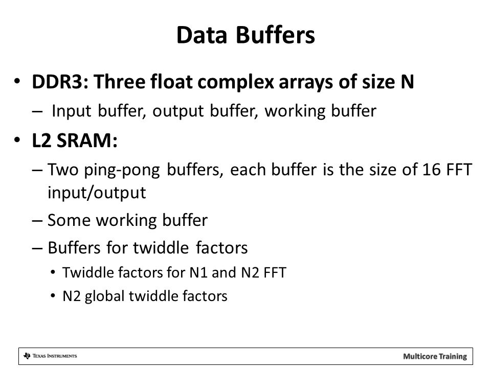 Data Buffers DDR3: Three float complex arrays of size N – Input buffer, output buffer, working buffer L2 SRAM: – Two ping-pong buffers, each buffer is the size of 16 FFT input/output – Some working buffer – Buffers for twiddle factors Twiddle factors for N1 and N2 FFT N2 global twiddle factors