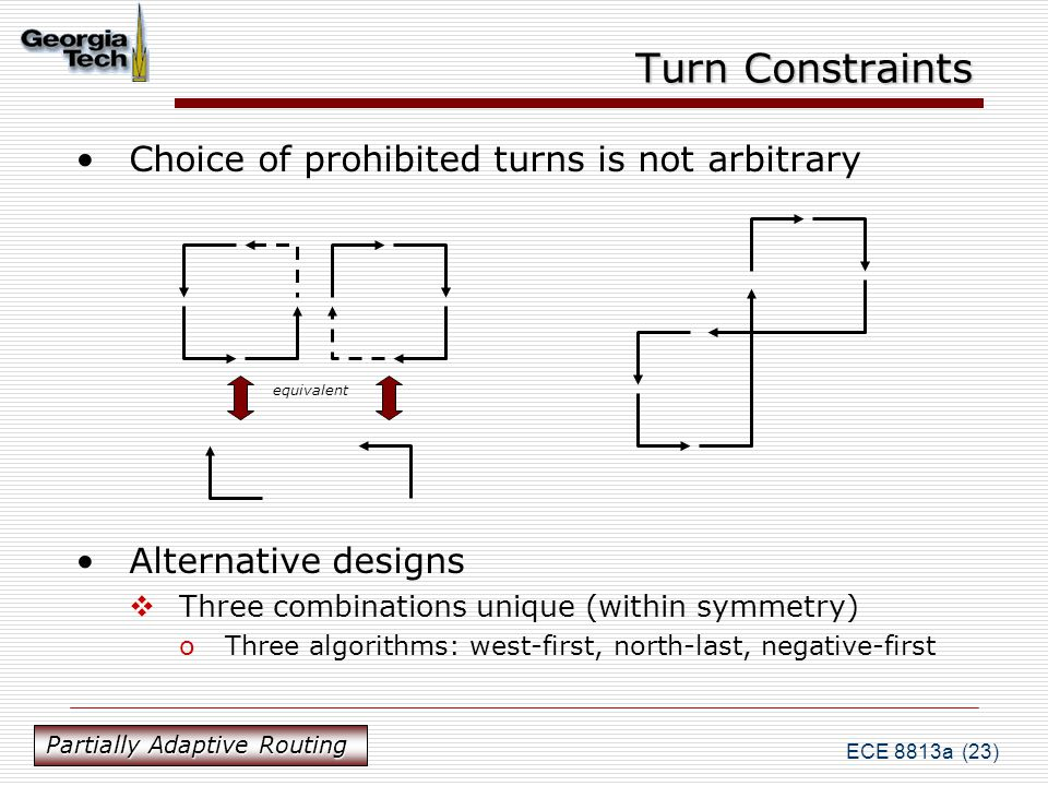 ECE 8813a (23) Turn Constraints Choice of prohibited turns is not arbitrary Alternative designs  Three combinations unique (within symmetry) oThree algorithms: west-first, north-last, negative-first equivalent Partially Adaptive Routing