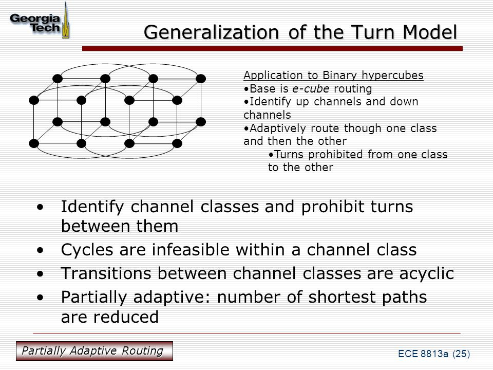 ECE 8813a (25) Generalization of the Turn Model Identify channel classes and prohibit turns between them Cycles are infeasible within a channel class Transitions between channel classes are acyclic Partially adaptive: number of shortest paths are reduced Application to Binary hypercubes Base is e-cube routing Identify up channels and down channels Adaptively route though one class and then the other Turns prohibited from one class to the other Partially Adaptive Routing