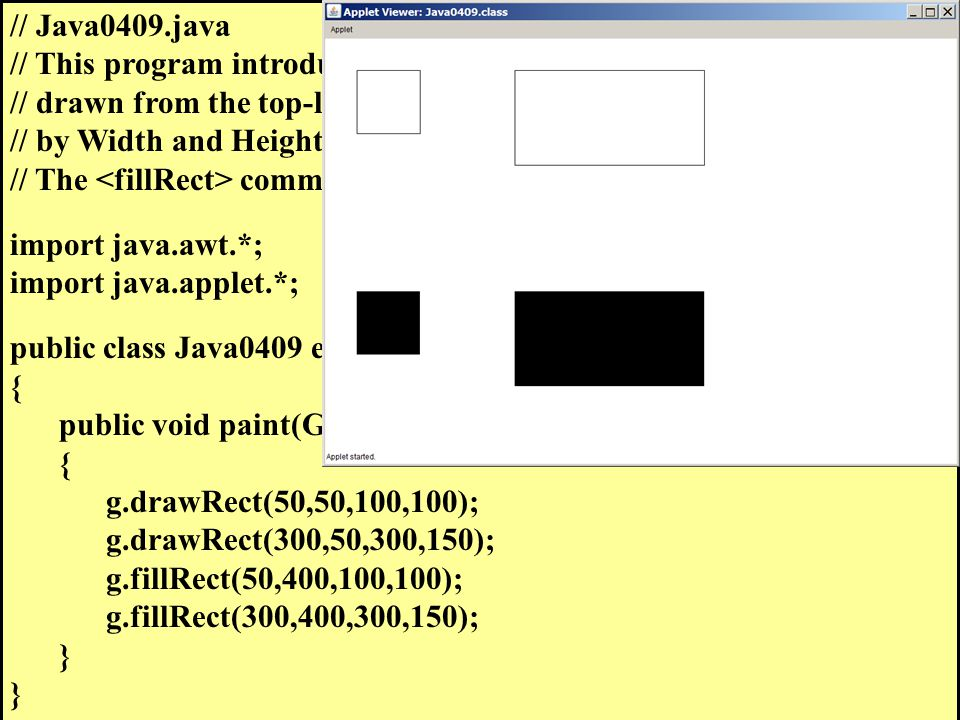 // Java0409.java // This program introduces the rectangle command.