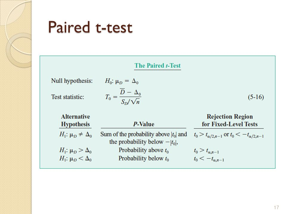 Paired t-test 17