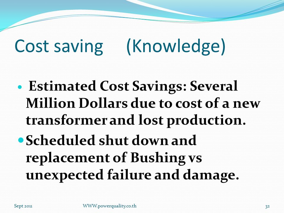 Cost saving (Knowledge) Estimated Cost Savings: Several Million Dollars due to cost of a new transformer and lost production.