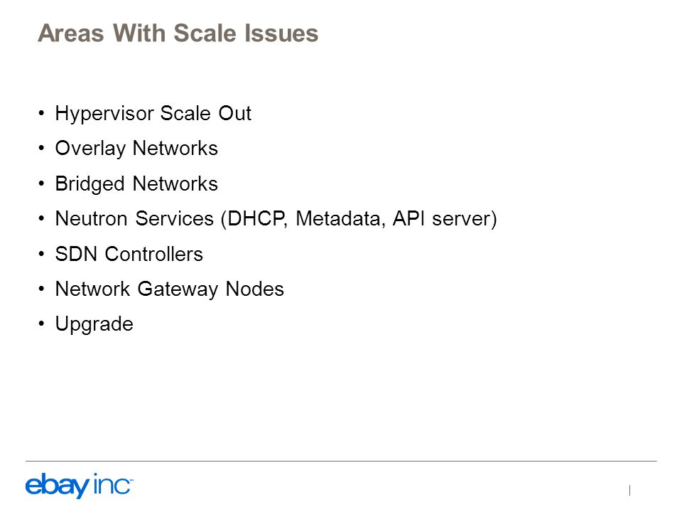 Hypervisor Scale Out Overlay Networks Bridged Networks Neutron Services (DHCP, Metadata, API server) SDN Controllers Network Gateway Nodes Upgrade Areas With Scale Issues
