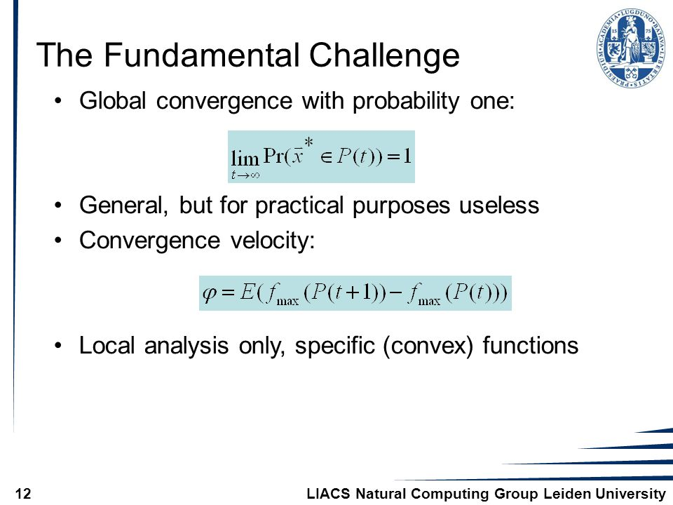 LIACS Natural Computing Group Leiden University12 Global convergence with probability one: General, but for practical purposes useless Convergence velocity: Local analysis only, specific (convex) functions The Fundamental Challenge