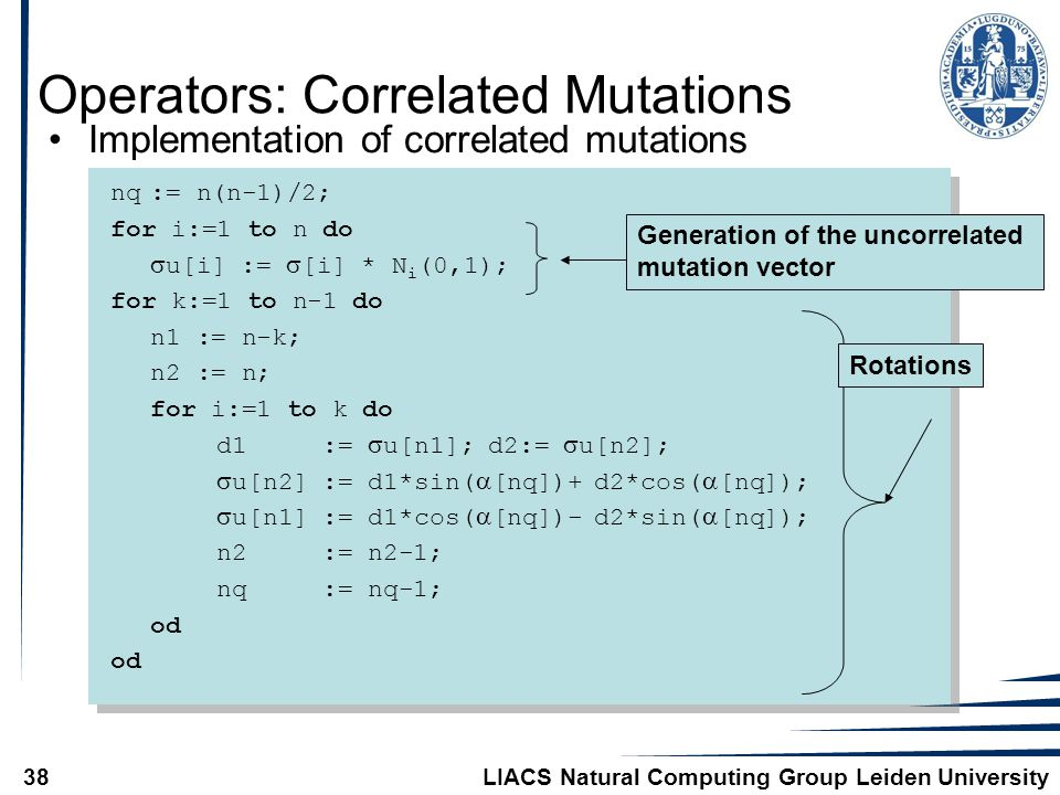 LIACS Natural Computing Group Leiden University38 Operators: Correlated Mutations Implementation of correlated mutations nq:= n(n-1)/2; for i:=1 to n do  u[i] :=  [i] * N i (0,1); for k:=1 to n-1 do n1 := n-k; n2 := n; for i:=1 to k do d1 :=  u[n1]; d2:=  u[n2];  u[n2] := d1*sin(  [nq])+ d2*cos(  [nq]);  u[n1] := d1*cos(  [nq])- d2*sin(  [nq]); n2 := n2-1; nq := nq-1; od Generation of the uncorrelated mutation vector Rotations