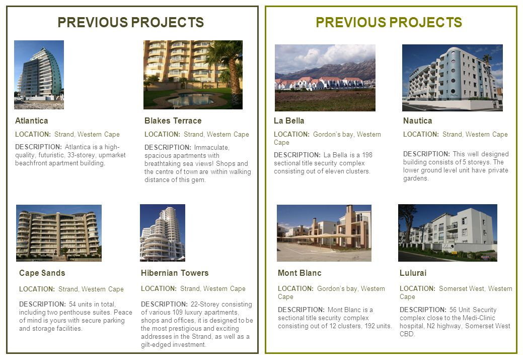 PREVIOUS PROJECTS La Bella LOCATION: Gordon's bay, Western Cape DESCRIPTION: La Bella is a 198 sectional title security complex consisting out of eleven clusters.