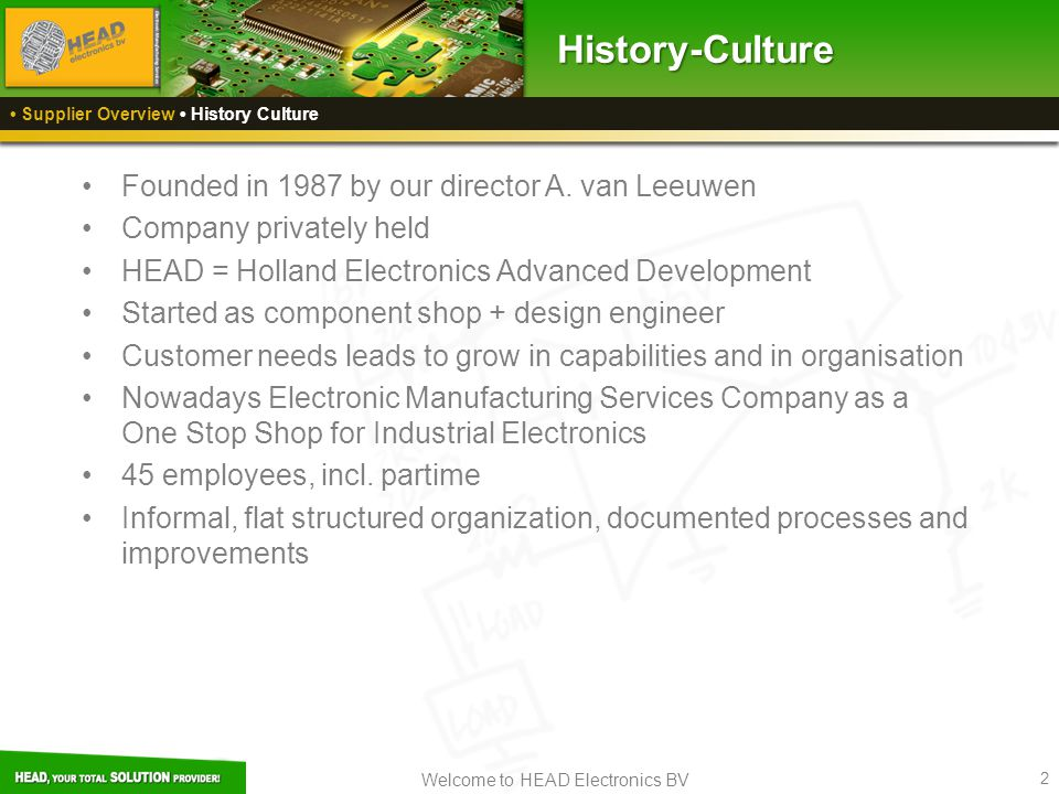 Welcome to HEAD Electronics BV 2 Founded in 1987 by our director A.