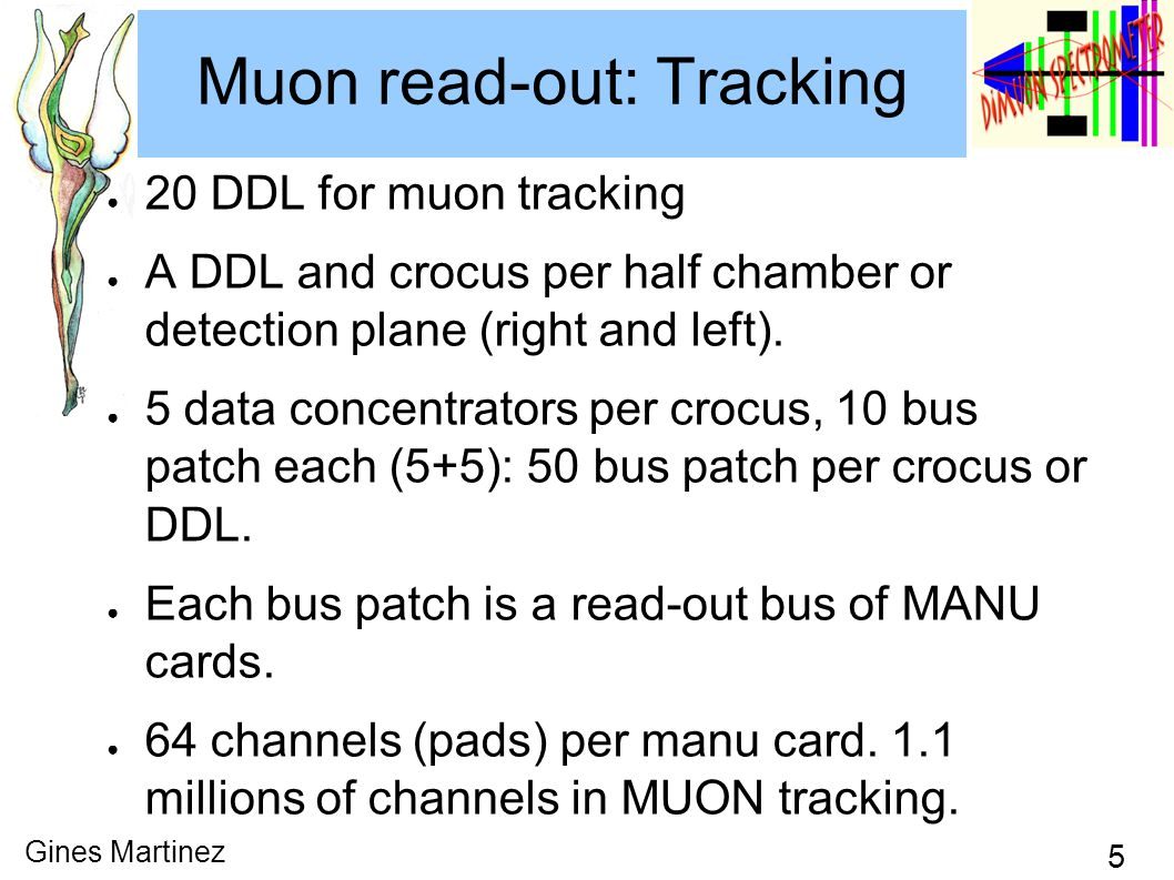 5 Gines Martinez Muon read-out: Tracking ● 20 DDL for muon tracking ● A DDL and crocus per half chamber or detection plane (right and left).