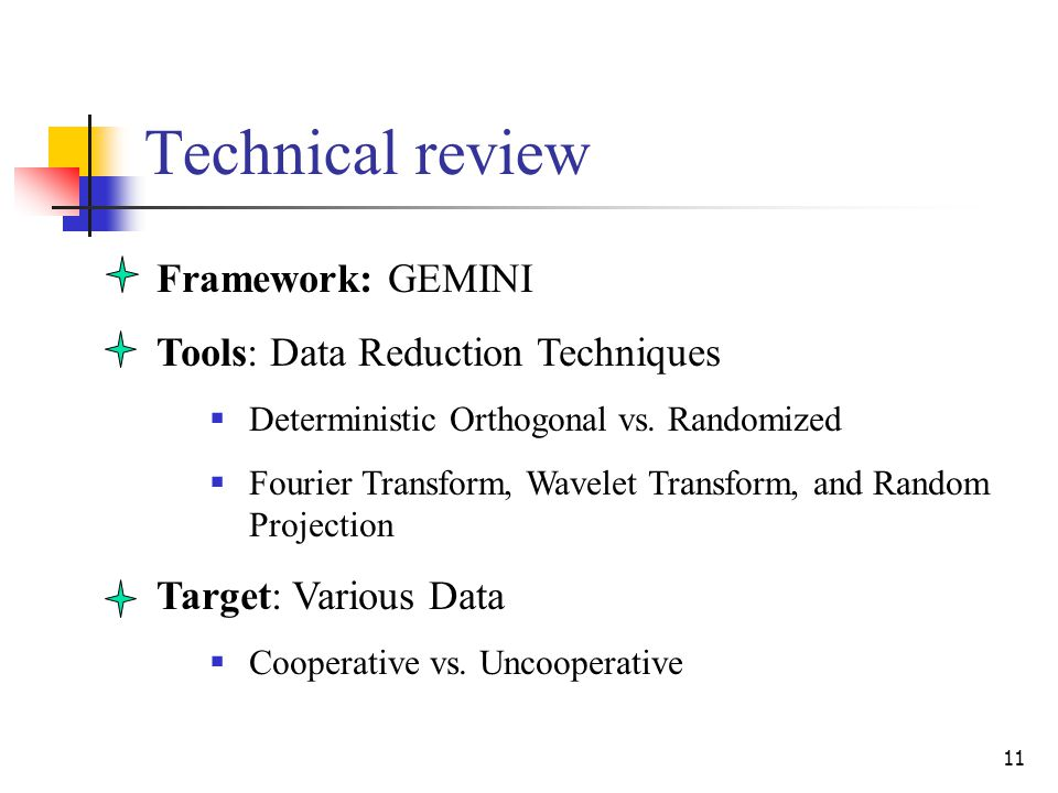 11 Technical review Framework: GEMINI Tools: Data Reduction Techniques  Deterministic Orthogonal vs.