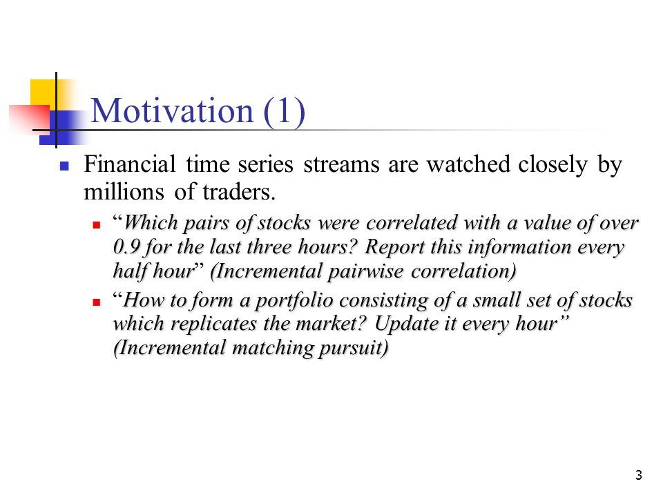 3 Motivation (1) Financial time series streams are watched closely by millions of traders.