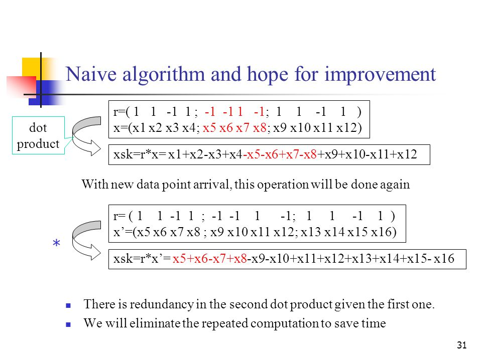 31 Naive algorithm and hope for improvement There is redundancy in the second dot product given the first one.