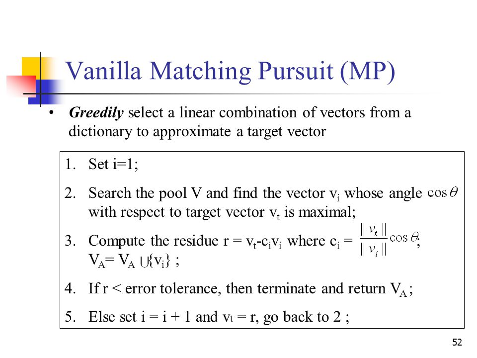 52 1.Set i=1; 2.Search the pool V and find the vector v i whose angle with respect to target vector v t is maximal; 3.Compute the residue r = v t -c i v i where c i = ; V A = V A {v i } ; 4.If r < error tolerance, then terminate and return V A ; 5.Else set i = i + 1 and v t = r, go back to 2 ; Vanilla Matching Pursuit (MP) Greedily select a linear combination of vectors from a dictionary to approximate a target vector