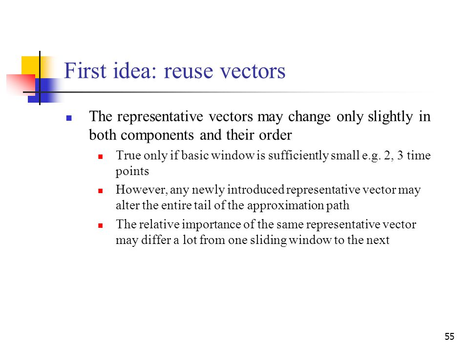 55 First idea: reuse vectors The representative vectors may change only slightly in both components and their order True only if basic window is sufficiently small e.g.