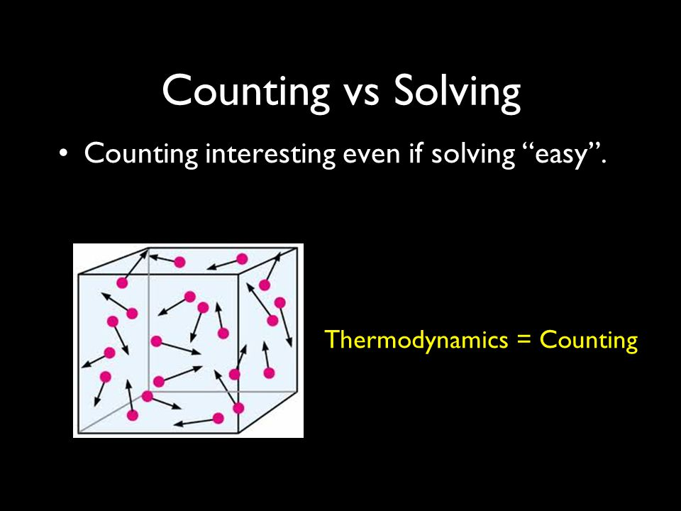 Counting vs Solving Counting interesting even if solving easy . Thermodynamics = Counting