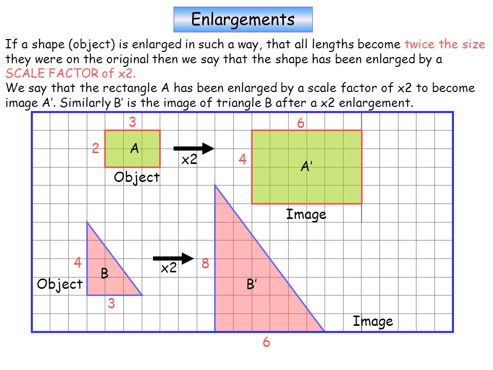 Enlargements If a shape (object) is enlarged in such a way, that all lengths become twice the size they were on the original then we say that the shape has been enlarged by a SCALE FACTOR of x2.